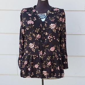 Como Vintage Floral Tunic Blouse - Large